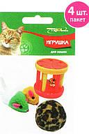 Lucky Fox (Лаки Фокс) Набор игрушек для кошки (2 мыши, меховой шар, барабан)
