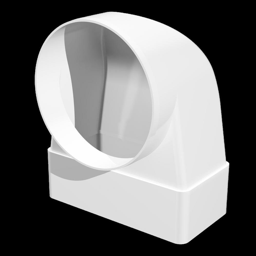 З'єднувач Ера 90° прямокутного повітроводу з круглим 60 х 204 х 125 мм (60-428)