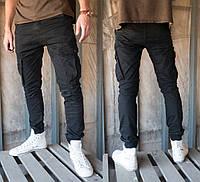 Зауженные брюки джоггеры карго черные M.Sara 2752-black