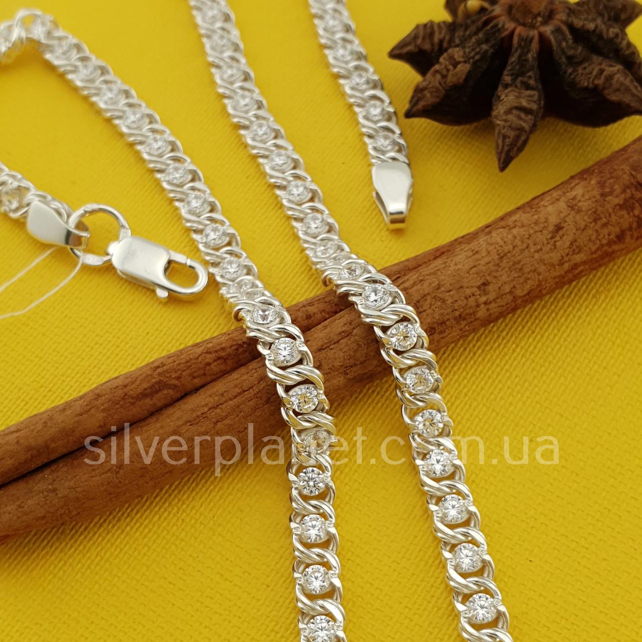Серебряная цепочка Арабка с камнями. Женское колье из серебра.