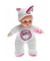 Детская музыкальная кукла пупс мягконабивной: воспроизводит 5 мелодий, есть подсветка, в костюме единорога
