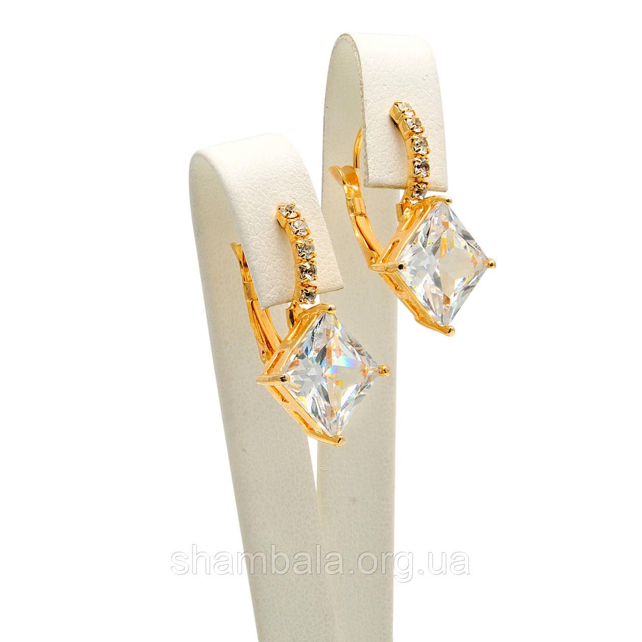 "Серьги Xuping Jewelry ""Ромб с камнем Swarovski"" позолота (017846)"