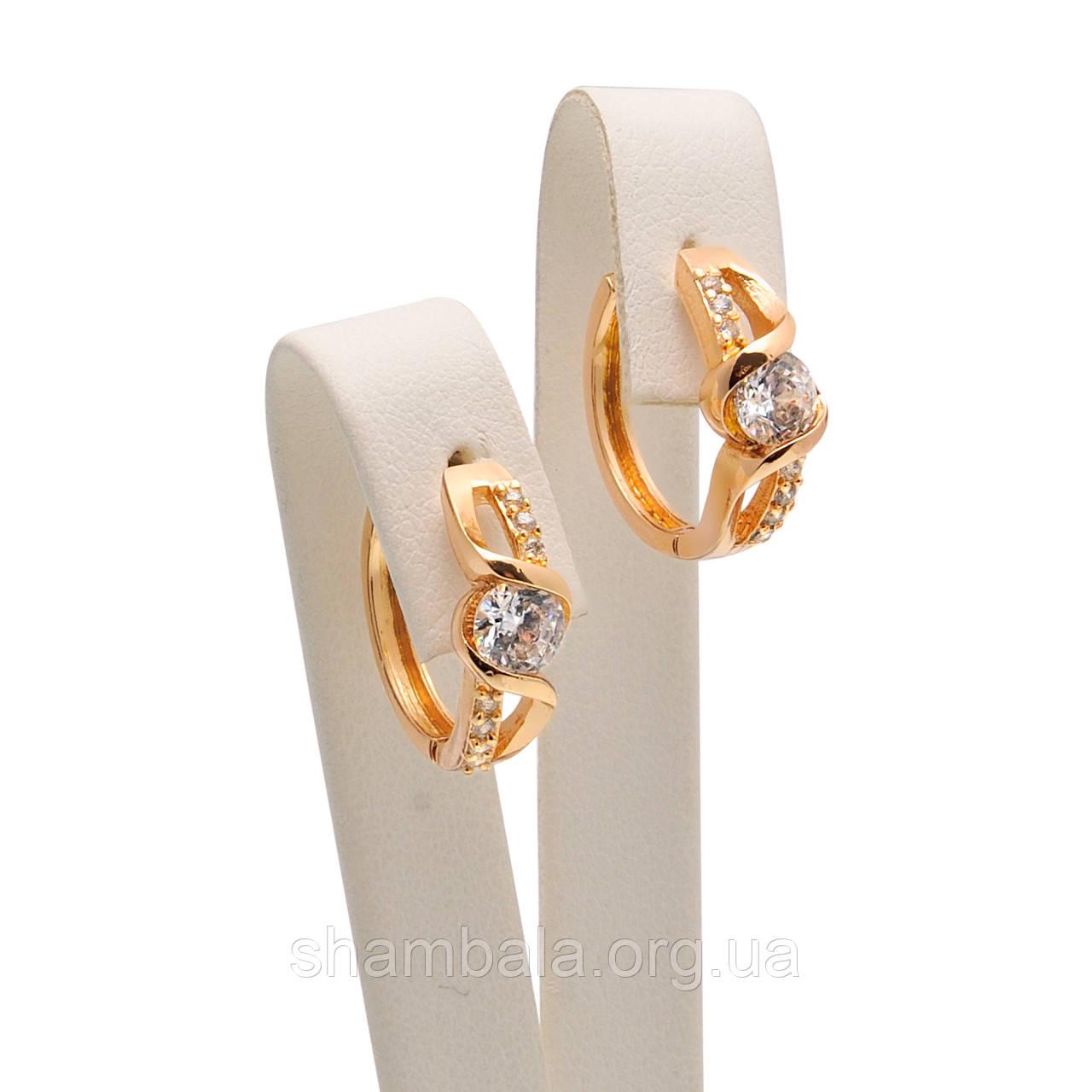 "Серьги Xuping Jewelry ""Pebbles"" позолота (029399)"