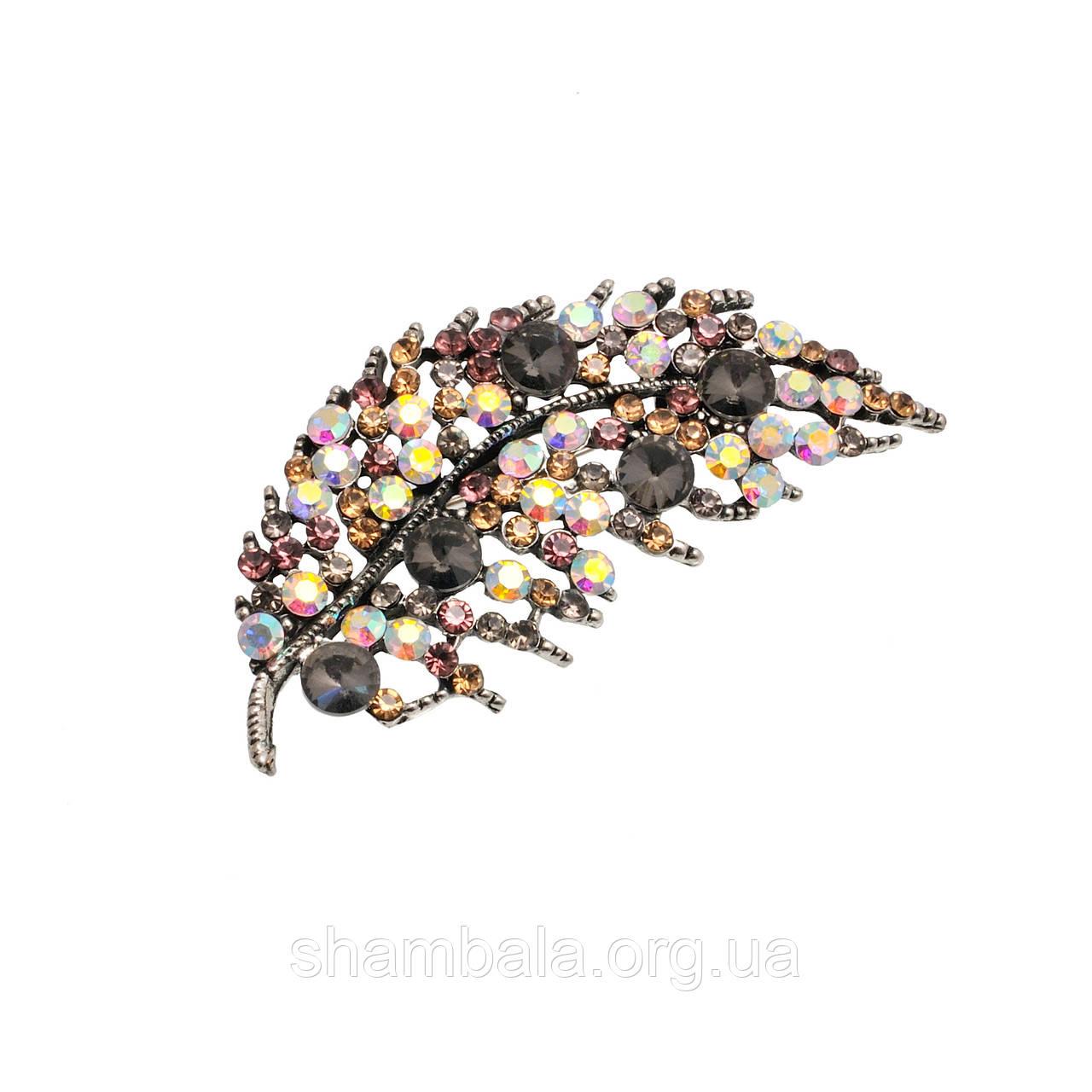 "Брошь Fashion Jewerly ""Leaf multi-colored stones"" (0057200)"
