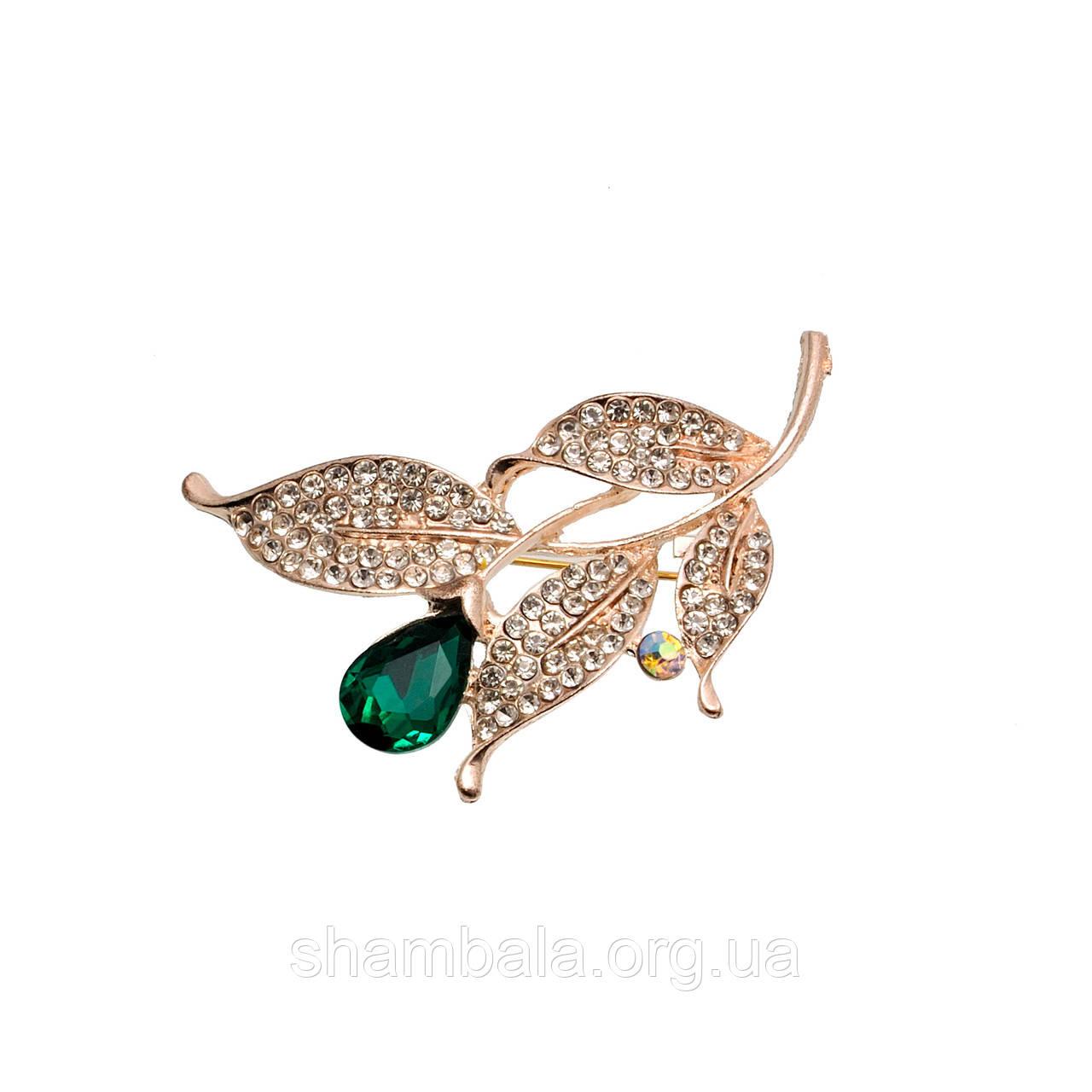 "Брошь Fashion Jewerly ""Ветка с зеленым камнем"" (050072)"