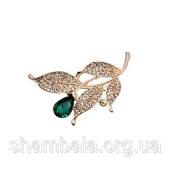 "Брошка Fashion Jewerly ""Гілка з зеленим каменем"" (050072)"