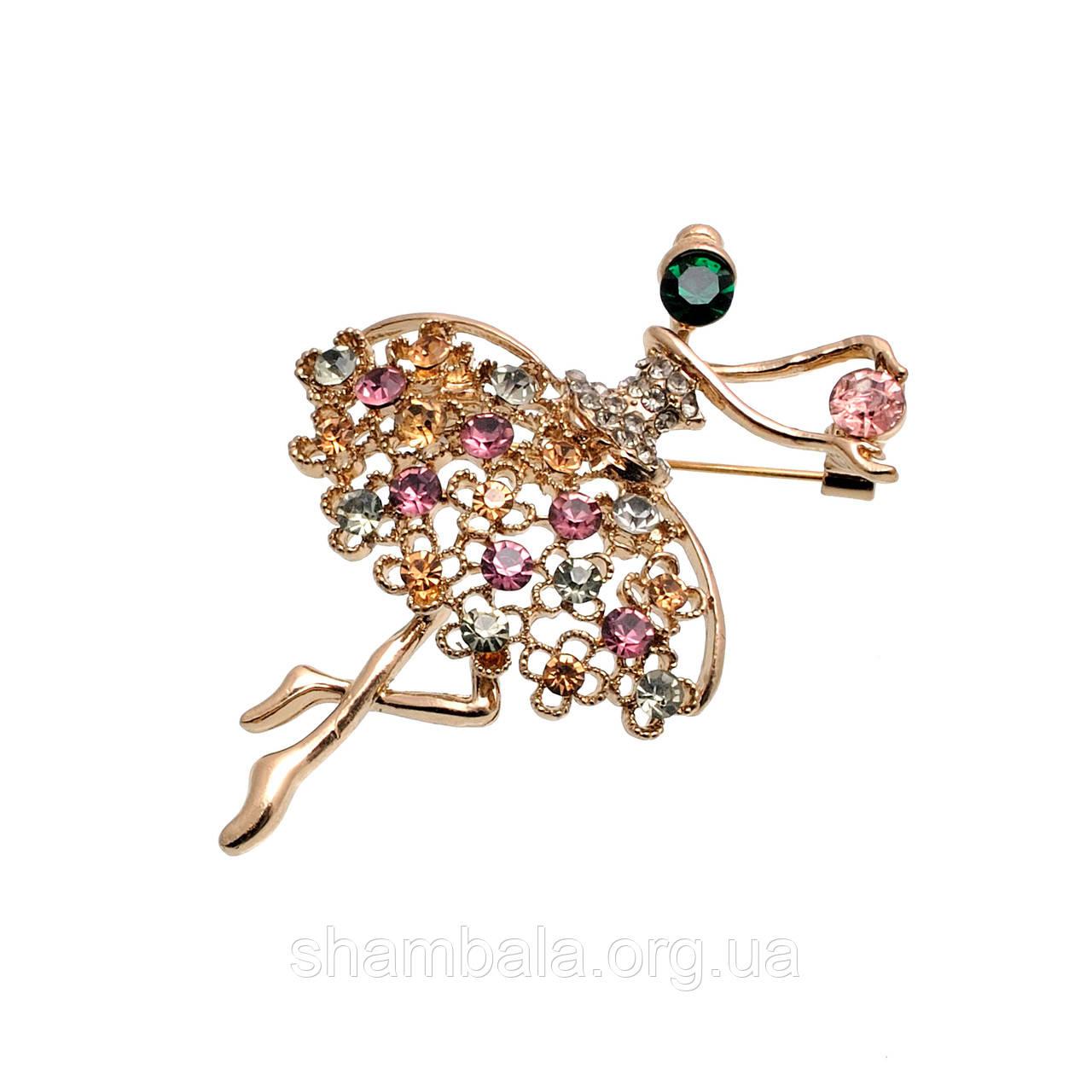 "Брошь Fashion Jewerly ""Балерина с разноцветными камнями"" (052007)"