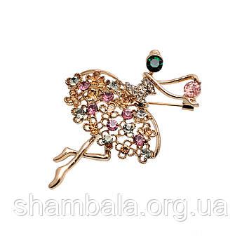 """Брошка Fashion Jewerly """"Балерина з різнокольоровими каменями"""" (052007)"""
