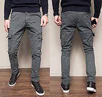 Модные штаны мужские Джоггеры карго серые Iteno 8922-5