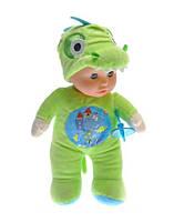 Детская музыкальная кукла пупс мягконабивной: воспроизводит 5 мелодий, есть подсветка, в костюме динозавра