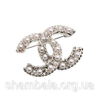 """Брошка Fashion Jewerly """"Logo with pearls"""" (044781)"""