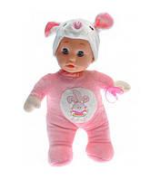 Детская музыкальная кукла пупс: воспроизводит 5 мелодий, есть подсветка, в костюме кролика