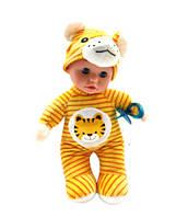 Детская музыкальная кукла пупс: воспроизводит 5 мелодий, есть подсветка, в костюме тигренка
