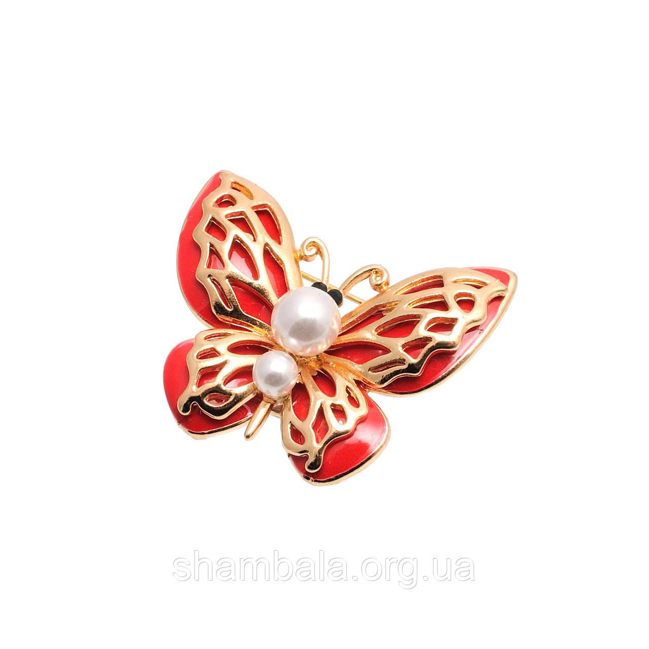 """Брошь Fashion Jewerly """"Красная бабочка с жемчугом"""" (045955)"""