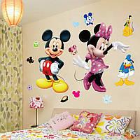 """Интерьерная наклейка на стену в детскую комнату """"Микки и Минни Маус"""""""