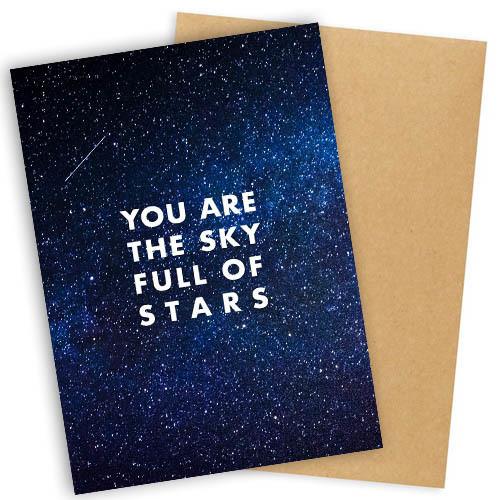"""Открытка с конвертом  """"You are the sky full of stars"""" 11х15см"""