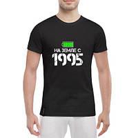 Черная мужская футболка с принтом На Земле с 1995