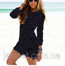 Платье на пляж черное (прозрачное) - S(40р.) - бюст до 75см, длина 78см, 95% полиэстер, 5% спандекс