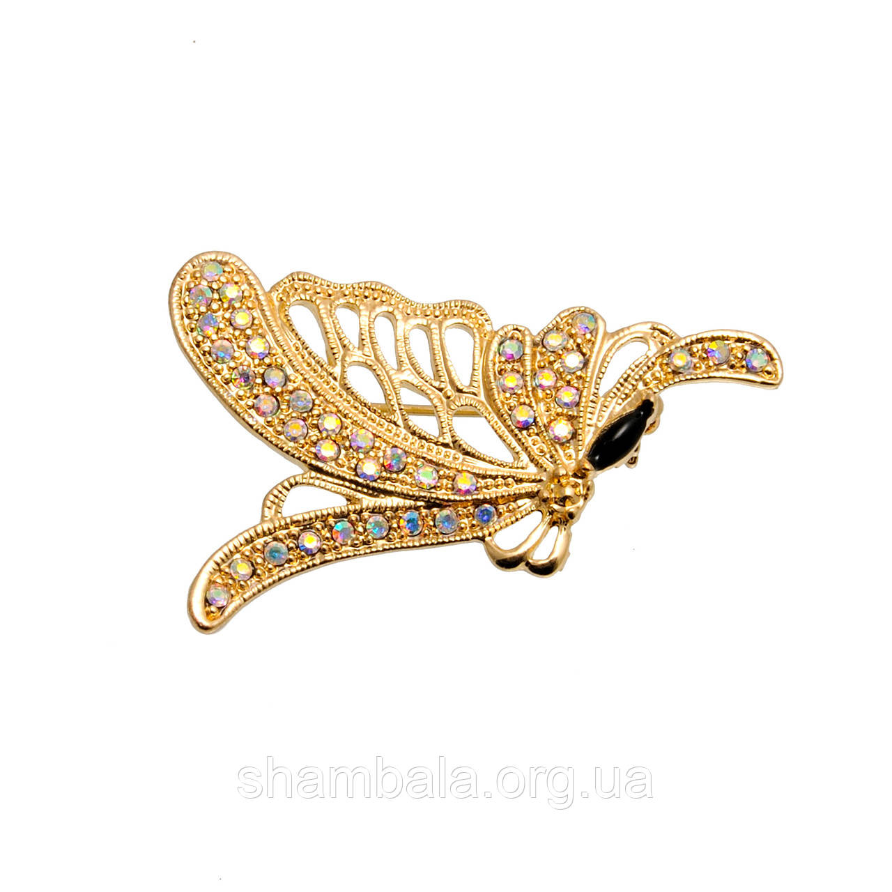 """Брошь Fashion Jewerly """"Gold butterfly in stones"""" (048741)"""