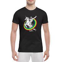 Черная мужская футболка с принтом Единорог астронавт