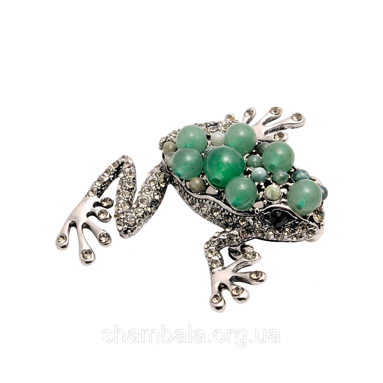"Брошь Fashion Jewerly ""Green stone frog"" (063669)"