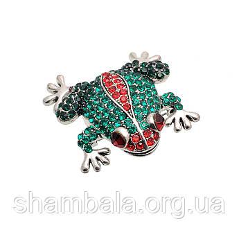 "Брошка Fashion Jewerly ""Green-red stone frog"" (058290)"