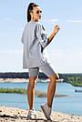 Серый спортивный костюм с велосипедками женский летний прогулочный трикотажный, фото 5