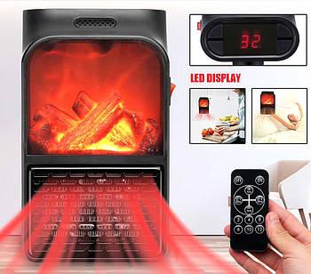 Портативный тепловентилятор дуйка обогреватель имитация камина с пультом 500 Вт FLAME HEATER