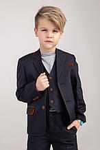 Детский  школьный костюм  темно-серого цвета 128
