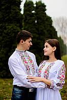 Пара вишиванок білого кольору з орнаментом машинної вишивки, фото 1