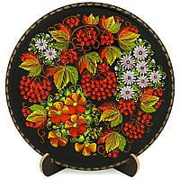 Тарелка расписнная вручную с подлаковой цветочной росписью, фото 1