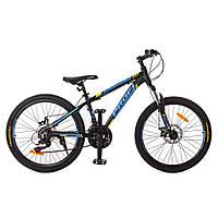 Спортивный велосипед 24 дюйма Profi G24OPTIMAL A24.1 Черно-голубой   Алюминевая рама SHIMANO 21SP