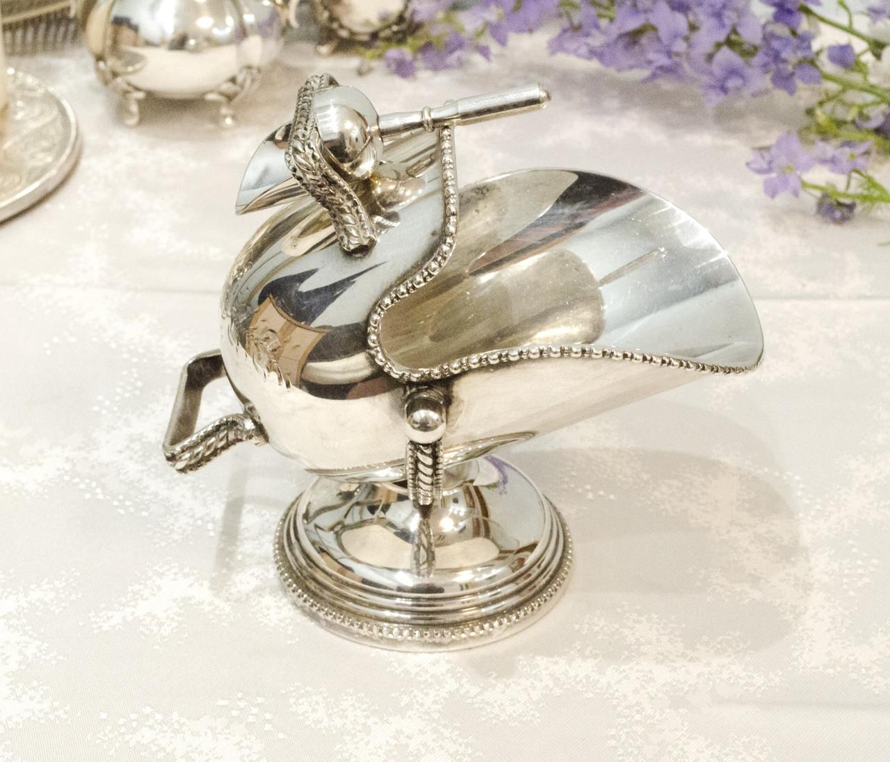 Посріблена англійська цукорниця - зольник, ківш, сріблення, Англія, вінтаж