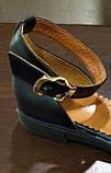Женские босоножки с закрытой пяткой черные с золотом кожа + сетка р.36-40, фото 3