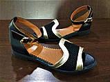 Женские босоножки с закрытой пяткой черные с золотом кожа + сетка р.36-40, фото 4