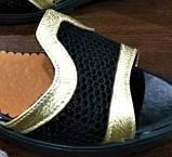 Женские босоножки с закрытой пяткой черные с золотом кожа + сетка р.36-40, фото 5