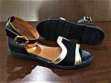 Женские босоножки с закрытой пяткой черные с золотом кожа + сетка р.36-40, фото 6
