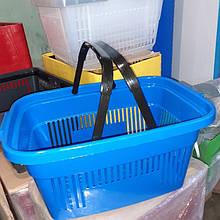 Корзинка пластиковая 20-22 л., пластиковая  корзина  для  супермаркета синяя идругие