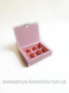 Коробка на 6 конфет, розовая, 110х145х30 мм