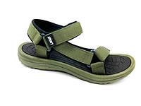 Спортивные сандалии мужские босоножки пенка пляжные летние на липучке текстиль хаки 43 размер Restime 21222