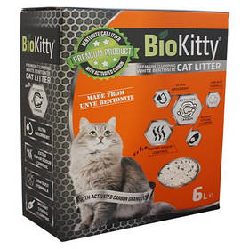 Наполнитель с белого бентонита BioKitty Compact Size (0,6-2,2mm) Activated Carbon 6 л