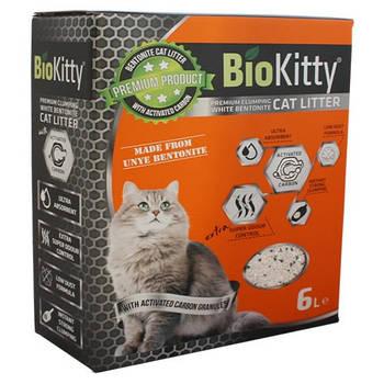 Наполнитель с белого бентонита BioKitty (Биокитти) 0,6-2,2 мм  активированным углем для кошачьего туалета, 6 л