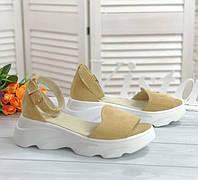 Жіночі стильні босоніжки пісочного кольору, фото 1