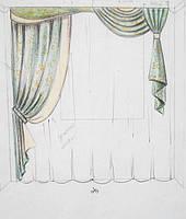 эскиз оформления окна в кухню (тюль, штора декоративная, ламбрекен, подхват)