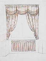 эскиз оформления окна в кухню (тюль, шторы, ламбрекен, подхваты, фиранка)