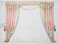 эскиз оформления окна в гостиную (тюль, шторы двухсторонние, ламбрекен, кисти)