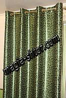 Зелені штори блекаут на люверсах, фото 1