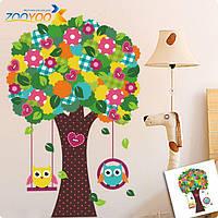 """Декоративная интерьерная наклейка на стену в детскую """"Разноцветное дерево с совами"""""""