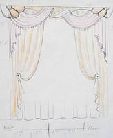 эскиз оформления окна в детскую (тюль, шторы, ламбрекен)