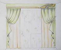 эскиз оформления окна в детскую (тюль, шторы, декоративные шторы, ламбрекен, подхваты)